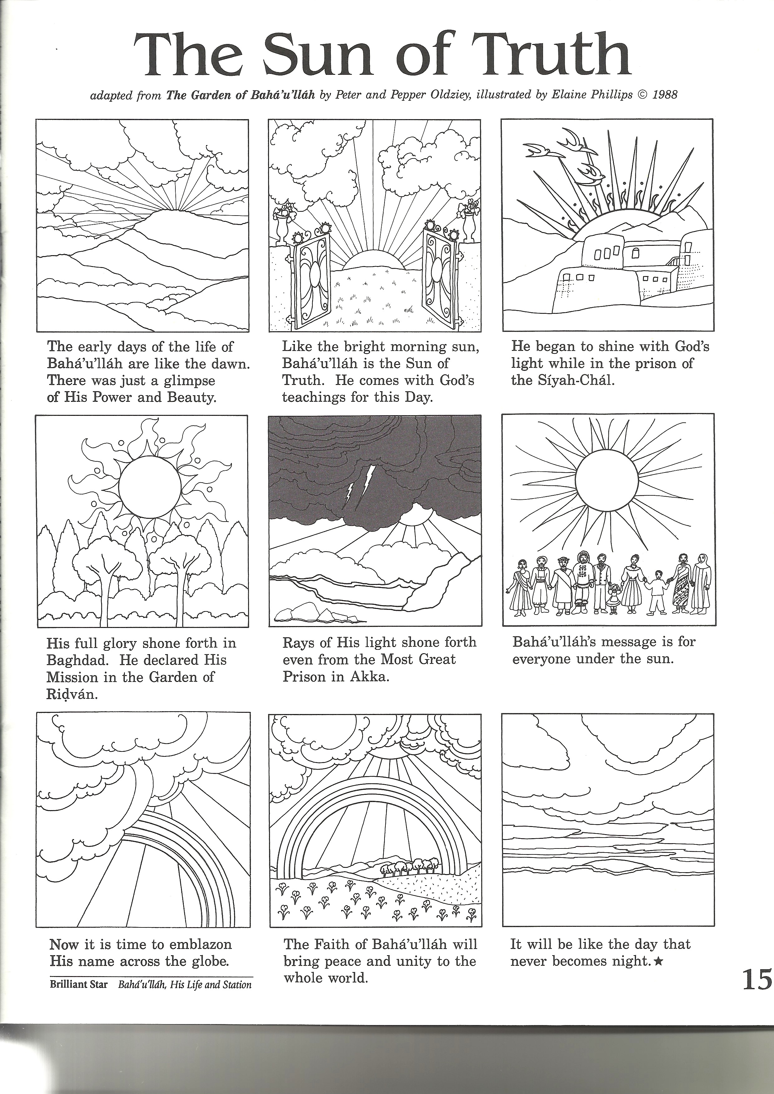 A page from the Baha'i Feast Activity Book - Bahai Colouring Pages ... | 3507x2480